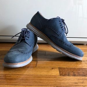 COLE HAAN Men's Blue Suede Grand Os Shoes 9.5